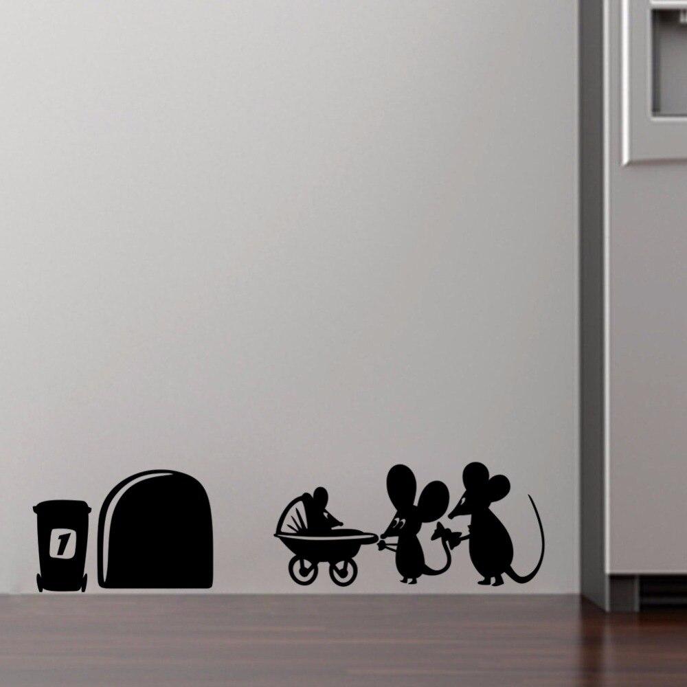 Mäuse Wandaufkleber Lustige Home Decor Kreative Aufkleber Selbstklebende Vinyl  Wandtattoos Tiere(China (Mainland)