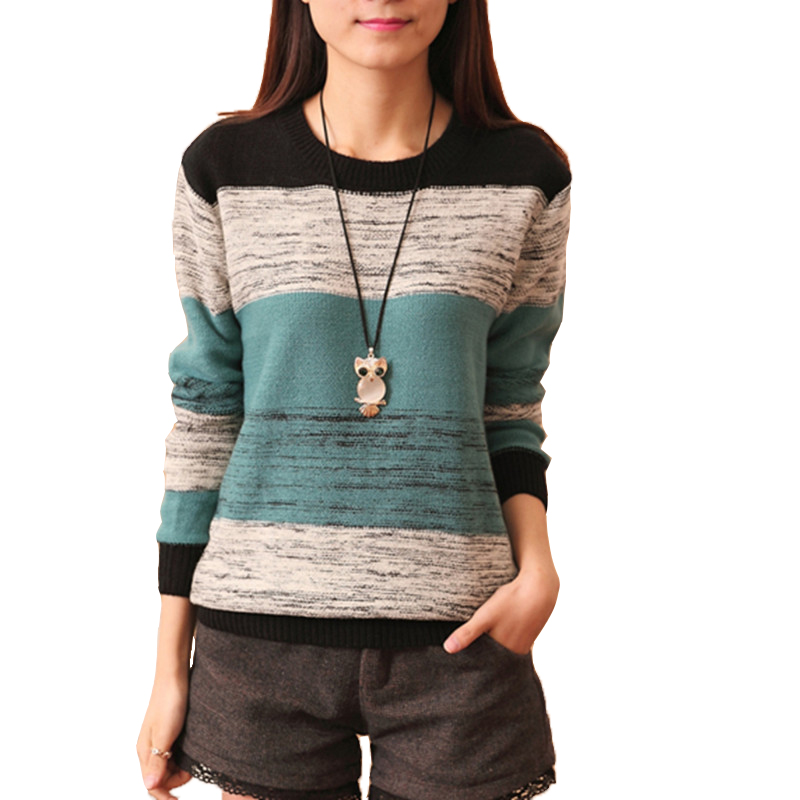 2017 New Fashion Women Female Pullovers Knitted Long Sleeve O neck Winter Autumn Sweaters Hot Sale