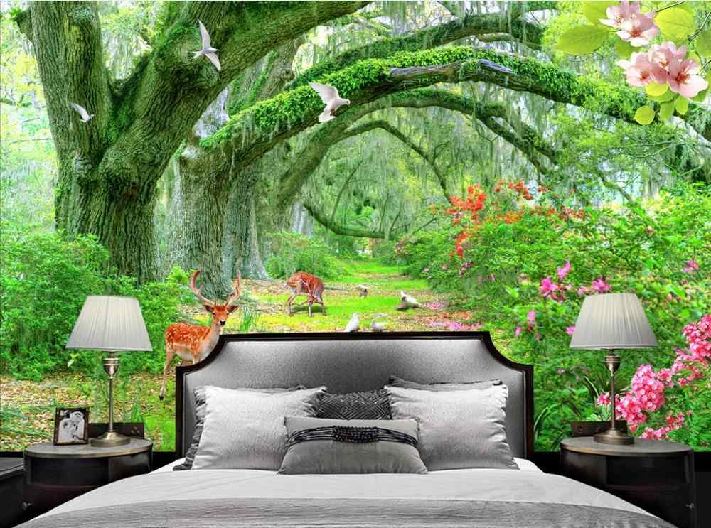 customize wall papers home decor 3d Living room bedroom mural wallpaper Green tree forest home decor wallpaper