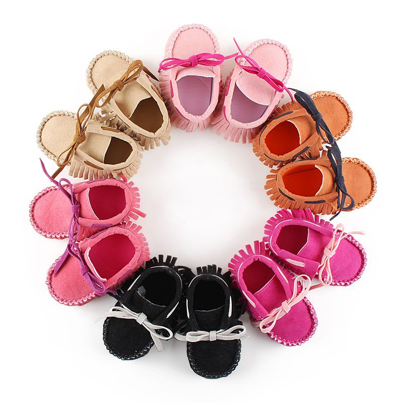 Newborn Girls Fringe Anti-skid First Walkers Autumn Bowknot Kids Girl Cack Slip On Shallow Shoes 2018 New