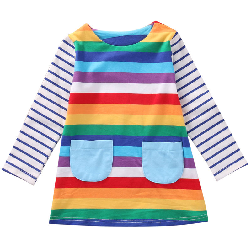 Hot Selling Fashion Toddler Baby Kids Girls Dress Long Sleeve Rainbow Striped Top Party Straight Dress Sweet Novelty Clothes