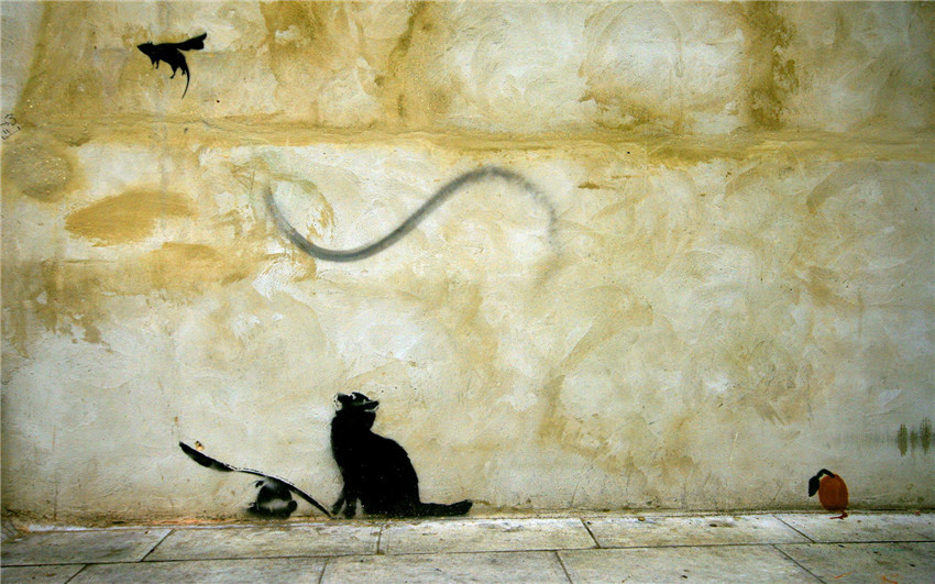 Cat mouse product BANKSY Oil Wall Painting Abstract Wall Art Decor ...