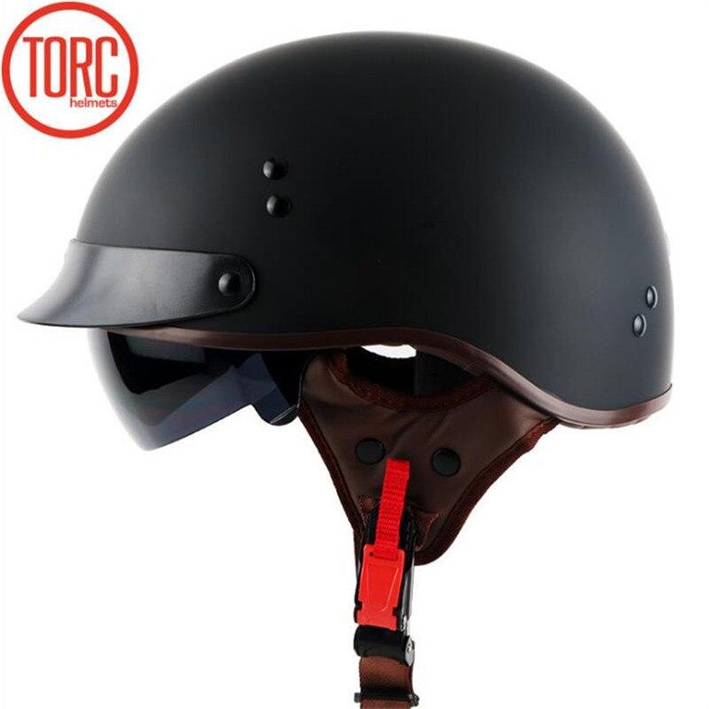 TORQUE T55 moitié du visage casque approuvé DOT moto casque avec lunettes de soleil internes amovible et lavable doublure pour adultes