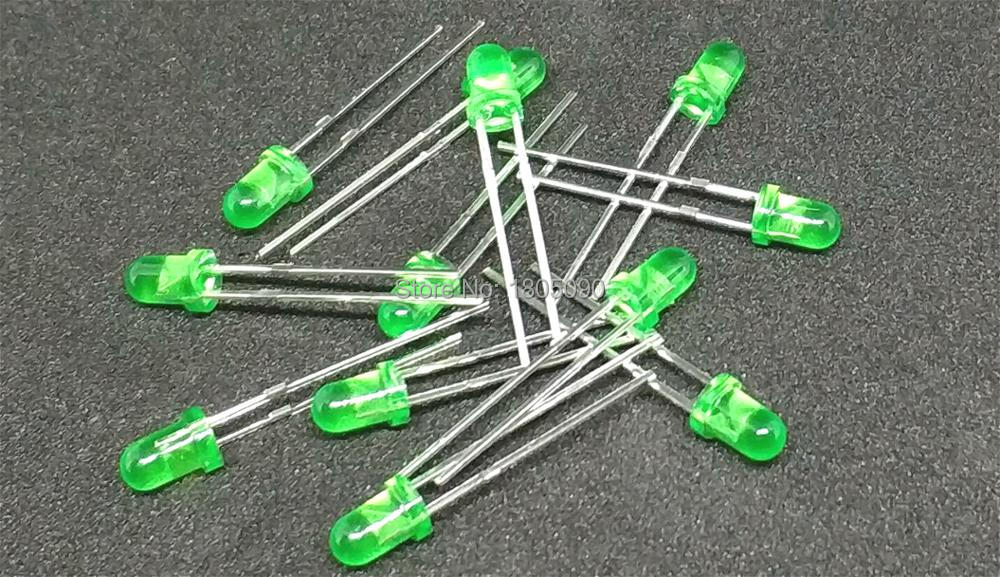 3mm Led Green 100pcs F3 LED 3MM Green DIP2 Short Legs 3mm Led Green 2.7-2.8V New And Original Free Shipping