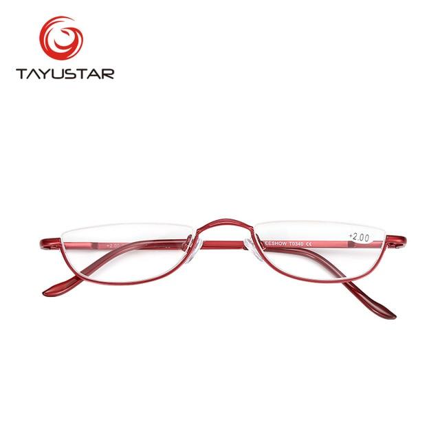 2018 MEESHOW Brand Design Eyeglasses Half Rim Reading Glasses With Case Classic Stainless Steel Glasses Prescription Glass T0340
