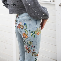 Simplee Floral embroidery women jeans pants Casual high waist jeans femme Light blue denim skinny jenas pencil trousers 2018