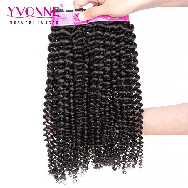 2 Unids/lote Moda Rizado Pelo Virginal Brasileño Rizado, Pelo Humano 100%, 8-28 Pulgadas Aliexpress Yvonne Hair, Color Natural 1B