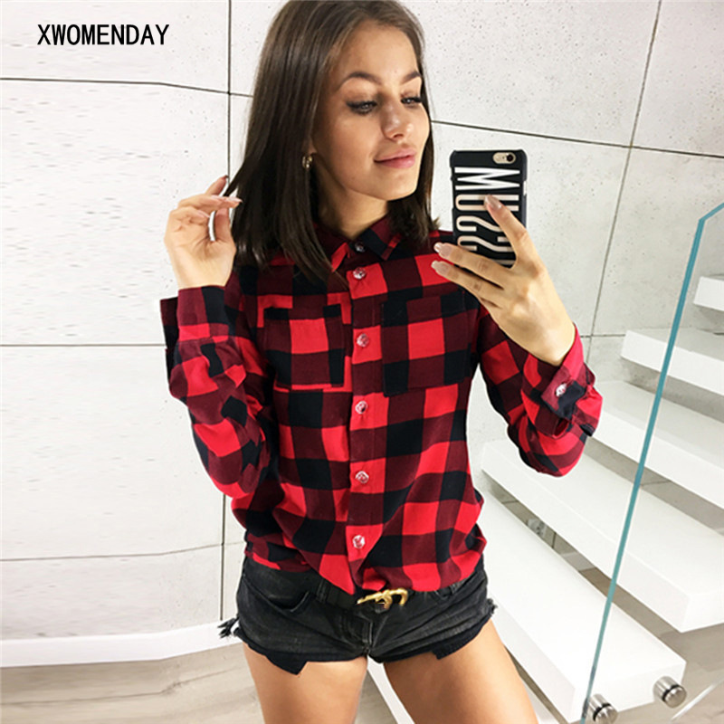 Womens Casual Tops 2019 New Spring Plaid Print Shirt Women Long Sleeve Turn-Down Blouse Korean Slim Cotton Pockets Femme Clothes