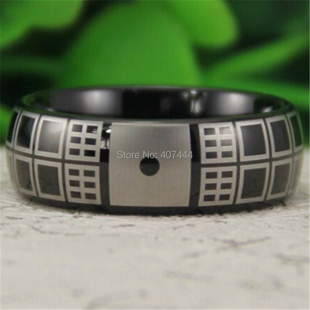 Free Shipping YGK JEWELRY Hot Sales 8MM Black Dome Doctor Who Time Tardis  Menu0027s Comfort Tungsten