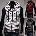 Frete grátis homens Hoodies mangas coletes à moda de algodão colete de malha colete! 3 cor, Ml-xl-xxl