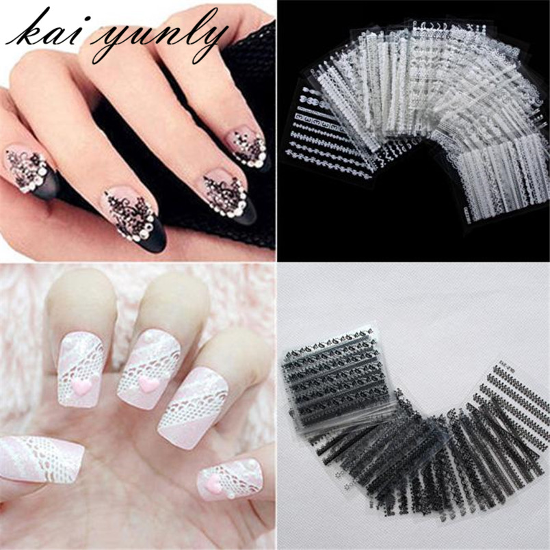 Kai yunly 30pcs 3d lace design nail art tips stickers for Adhesive decoration