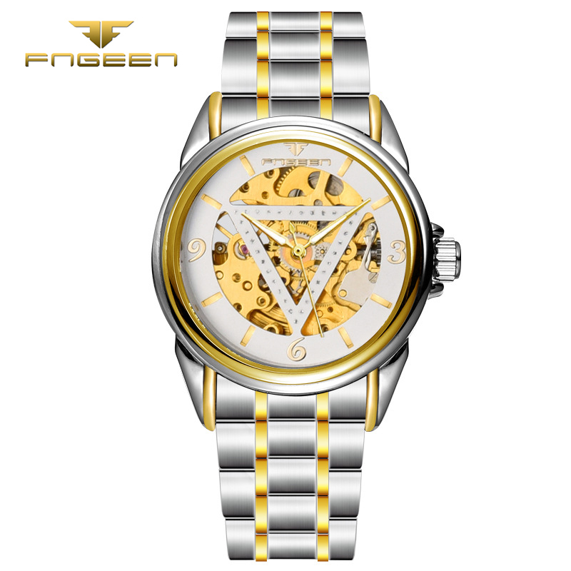 Authentic brand  Luxury Gold Skeleton Automatic Mechanical Tourbillon Men leather strap casual business noctilucence Watch tian wang leather strap automatic mechanical watch for business casual men with ss see through case back gs5789s d