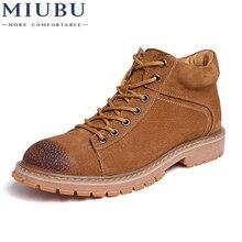 цена на MIUBU Genuine Leather Men Boots Autumn Winter Ankle Boots Fashion Footwear Lace Up Shoes Men High Quality Vintage Men Shoes
