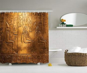 Jeroglíficos egipcios antiguos textos logográficos elementos alfabéticos diseño estampado baño ducha cortina oro
