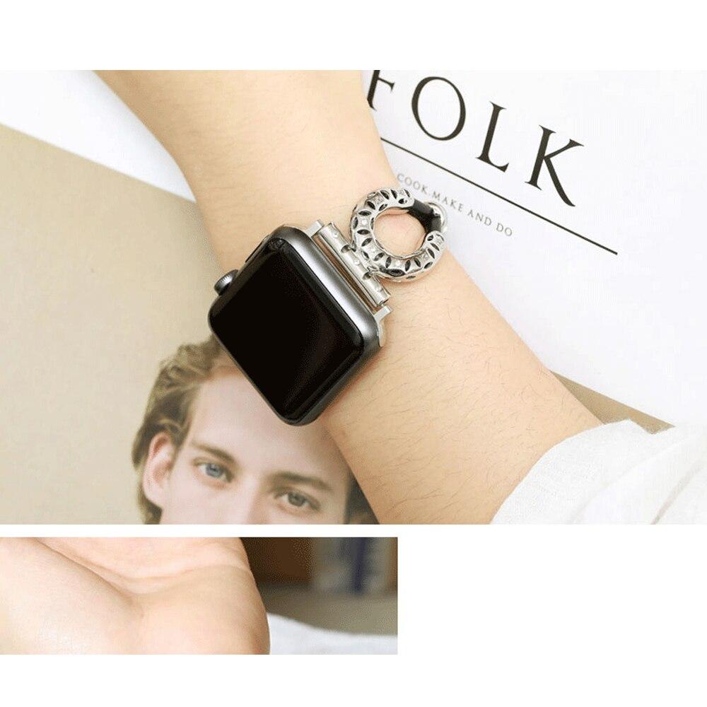 Correa de reloj CRESTED para Apple watch 42mm 38mm Iwatch Correa Serie 3 2 1 correa de reloj de piel de oveja de acero inoxidable
