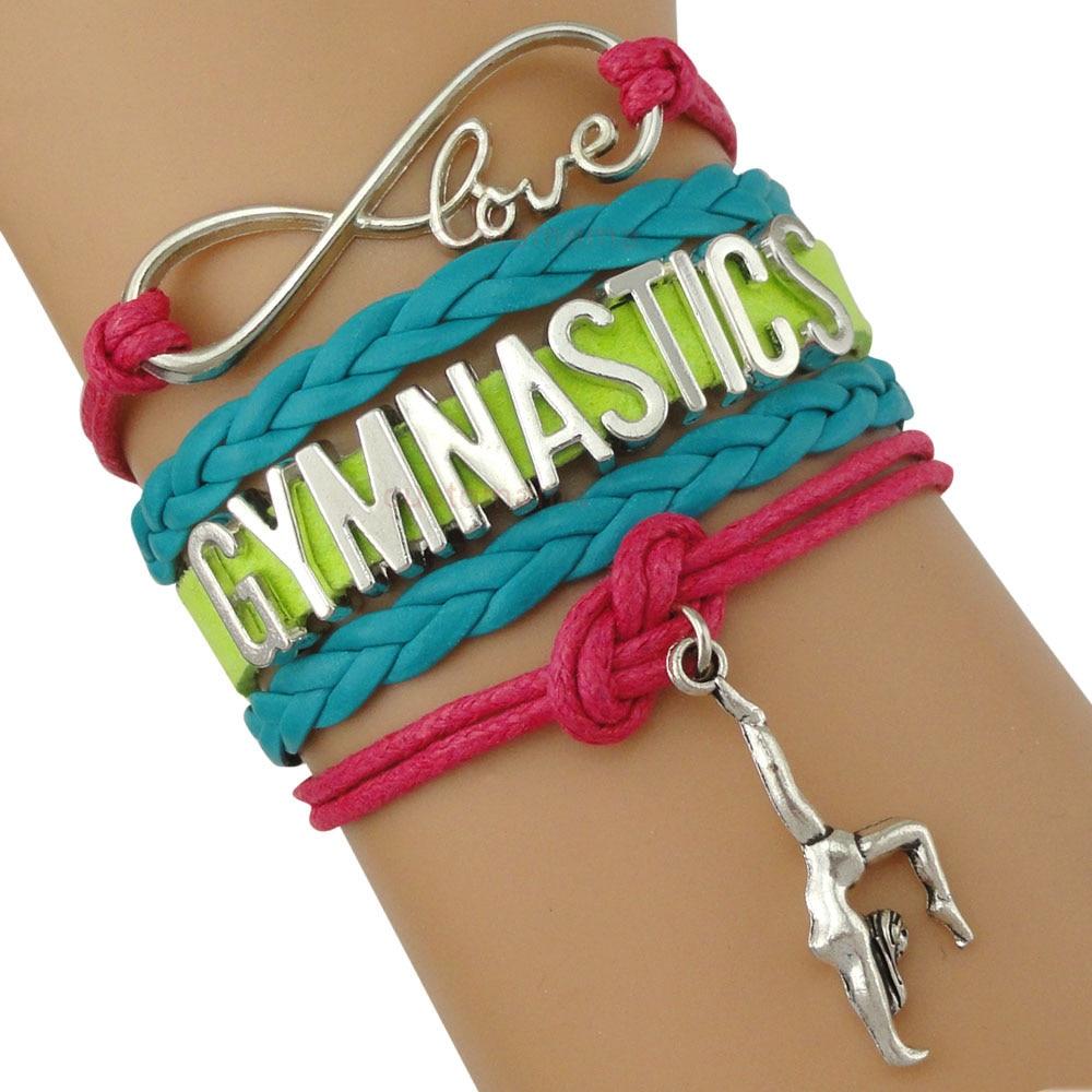 Гимнастические браслеты с кулоном в форме бесконечности, спортивные ювелирные изделия, Розовый Зеленый Воск, шнуры, подарок для девочек и м...