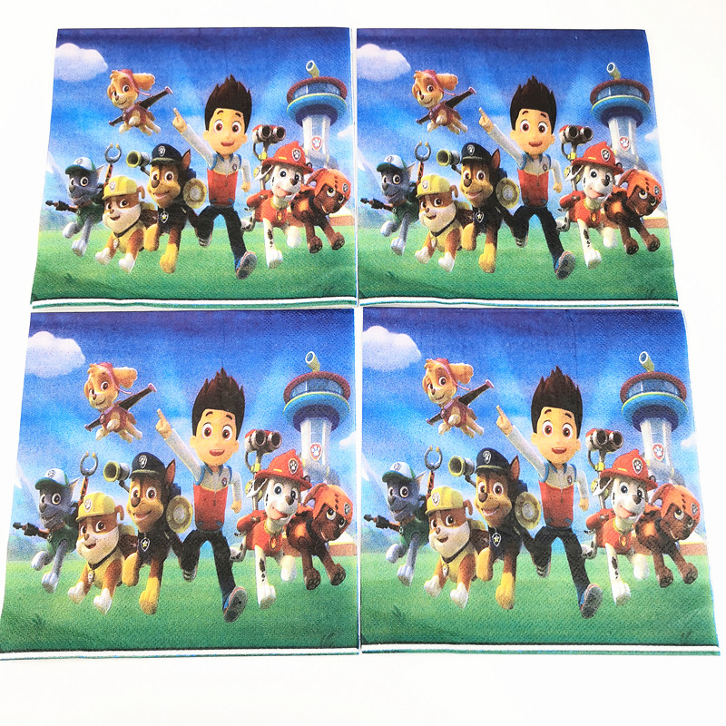 91pcs Disposable Tableware sets Puppy Canine Dog TableCloth cup Paper plate Napkin Flag Kids Boy Birthday Party Decoration