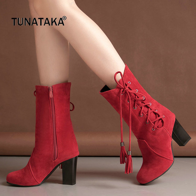 Winter Square High Heel Woman Fringe Mid Calf Boots Fashion Side Zipper Calf Boots Woman Black Red Brown Gray