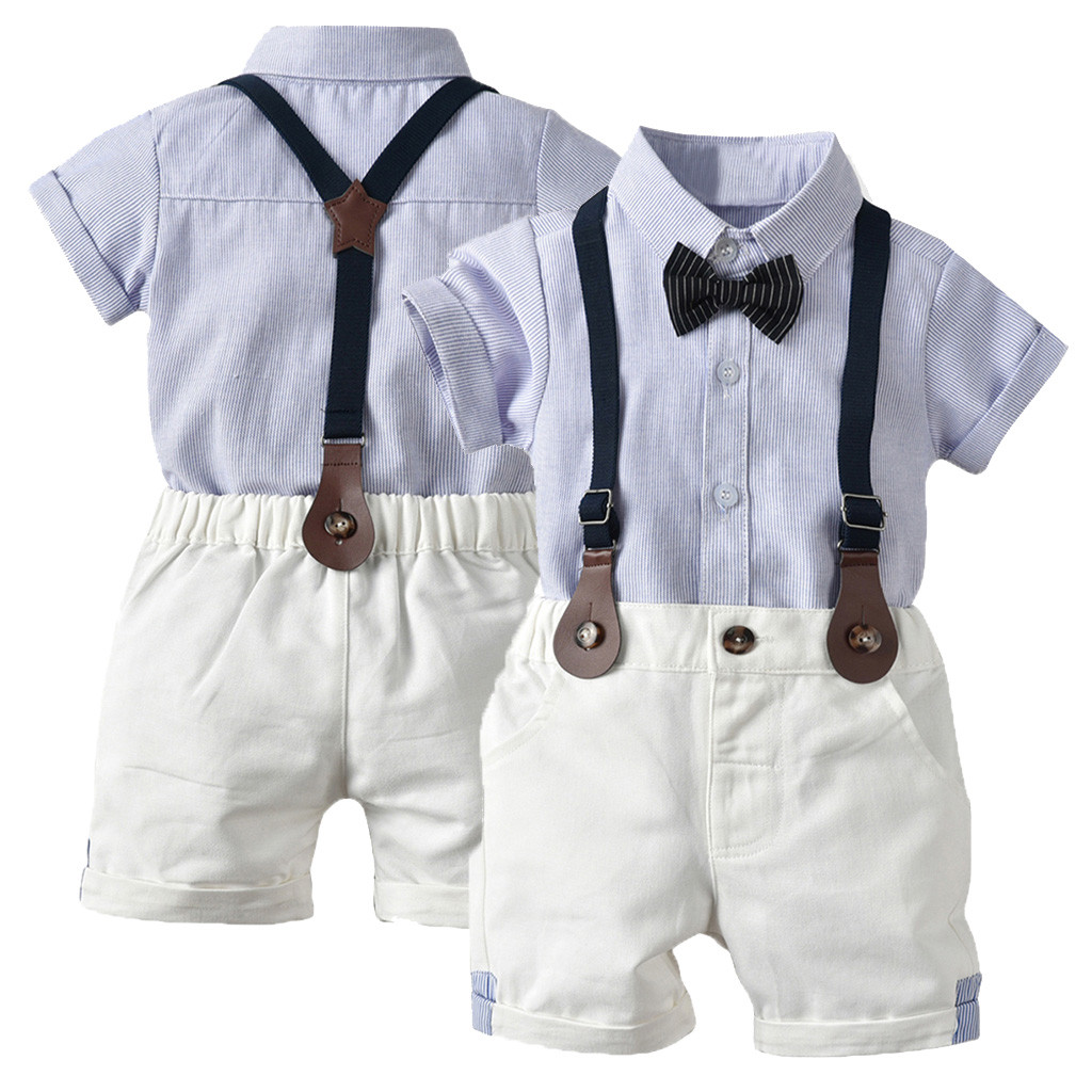 Toddler Baby Boy Gentleman Suit Rose Bow Tie T-Shirt Shorts Pants Outfit Set P6