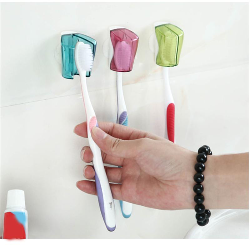 3pcs Toothbrush Holder Dustproof Wall Mount Suction Cup Toothbrush Cover Rack Cap for Bathroom Travel Home Hotel image