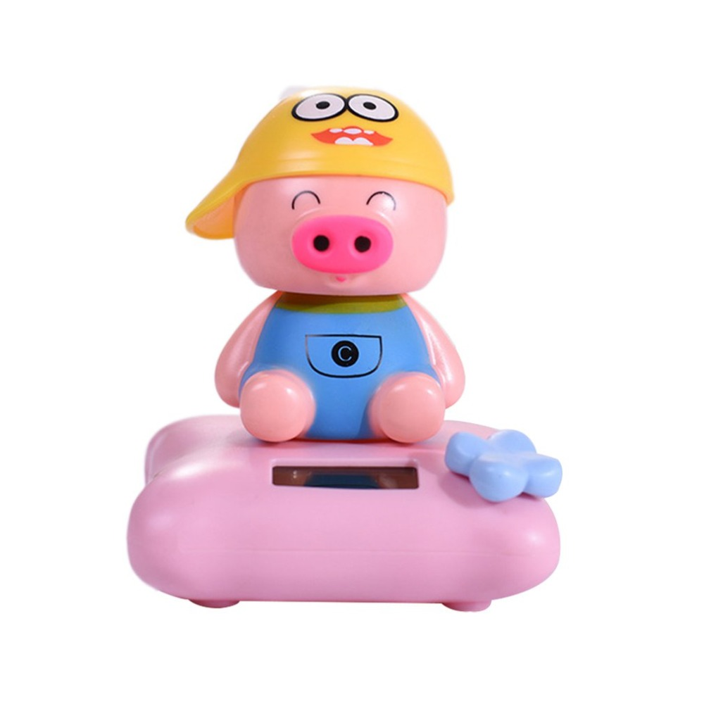 Cute Animal Car Ornament Solar Powered Cartoon Design Shaking Auto Dashboard Dec
