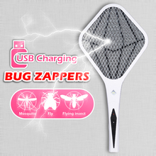 USB charging electric mosquito swatter LED With Lights Bug zappers Fly killer Pest control 3-layer protection net