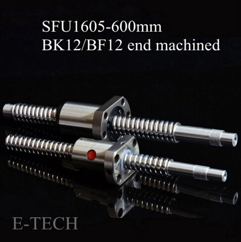 CNC SFU1605 Ballscrew Set : 1pc Ball screw SFU1605 L600mm Standard BK12 BF12 End Machining +1pc SFU1605 Ball Nut noulei sfu 1605 ball screw price cnc ballscrew 1605 900mm ball screw nut sfu1605 l900mm