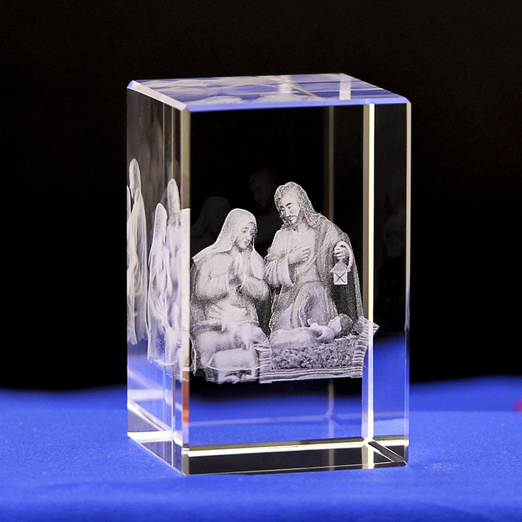 6 Kinds Christian Catholic Jesus Portrait Crystal Ornaments Creative 3D Laser Engraver Cube Home Decoration Accessories Modern