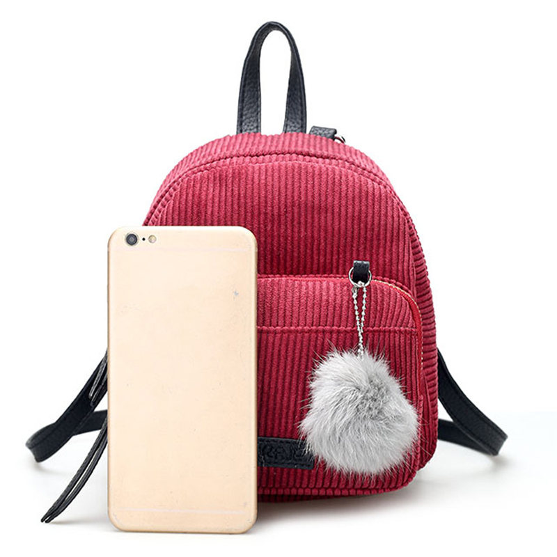 f600cc865604 2017 Most Popular Women Leather Backpacks Schoolbags Travel Shoulder Bag  Mini Corduroy Fashion Rucksack Wholesale Mochila A8 -in Backpacks from  Luggage ...
