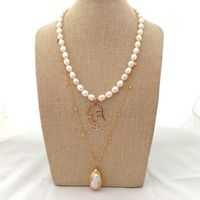 21 2 Rows White Rice Pearl GP Plated Chain Necklace keshi Pearl Facial Pendant