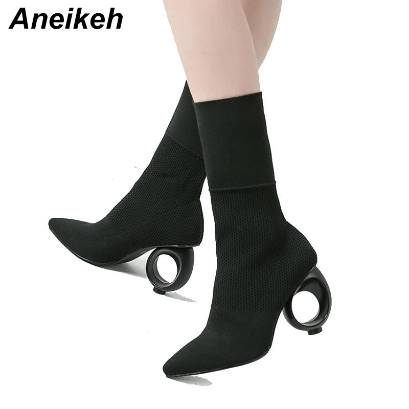 Aneikeh 2019 Trendy Design Stretch Sock Boots Ankle Long ...
