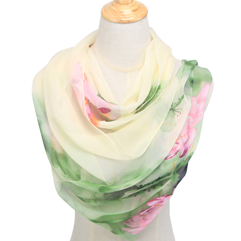 New Arrival 2020 Spring And Autumn Chiffon Women Scarf Polyester Geometric Pattern Design Long Soft Silk Shawl QQS003