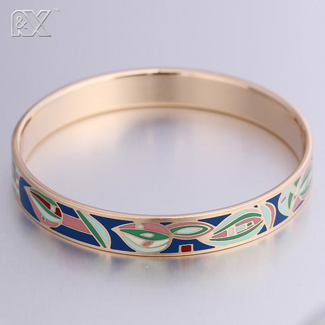 R&X New Promotions Europe Fashion Jewelry 10MM Width Enamel Rose gold Stainless Steel Snap Bracelet Femme Filled Bangles