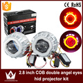 Guang Dian car led light 2.8'' inch square Double cob angel eyes Halo ring lens light for headlight hid Bi-xenon lens kit