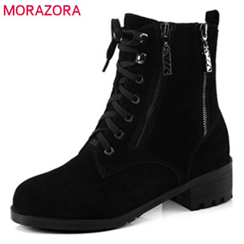 MORAZORA Fashion shoes woman ankle boots for women cow suede med heels shoes in spring autumn boots platform big size 34-44 morazora new china s style knee high boots flowers embroidery spring autumn boots for women zipper cow suede med heels boots