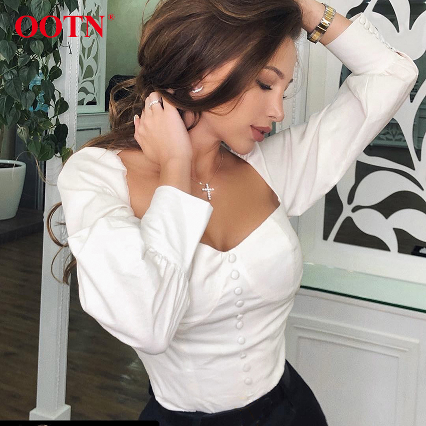 OOTN Single Breasted Square Collar Women White Blouse Shirt Sexy Puff Sleeve Tops Female Tunic Blouses Autumn Casual Shirts Sli(China)