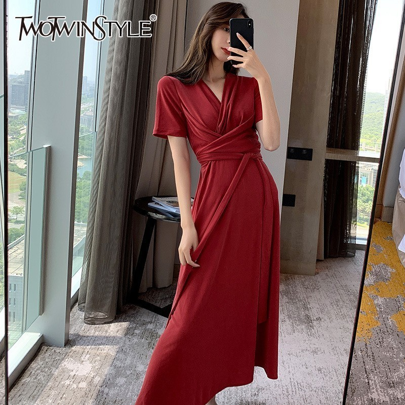 TWOTWINSTYLE Elegant Solid Midi Dress For Women V Neck Short Sleeve High Waist Bandage Slim Dresses