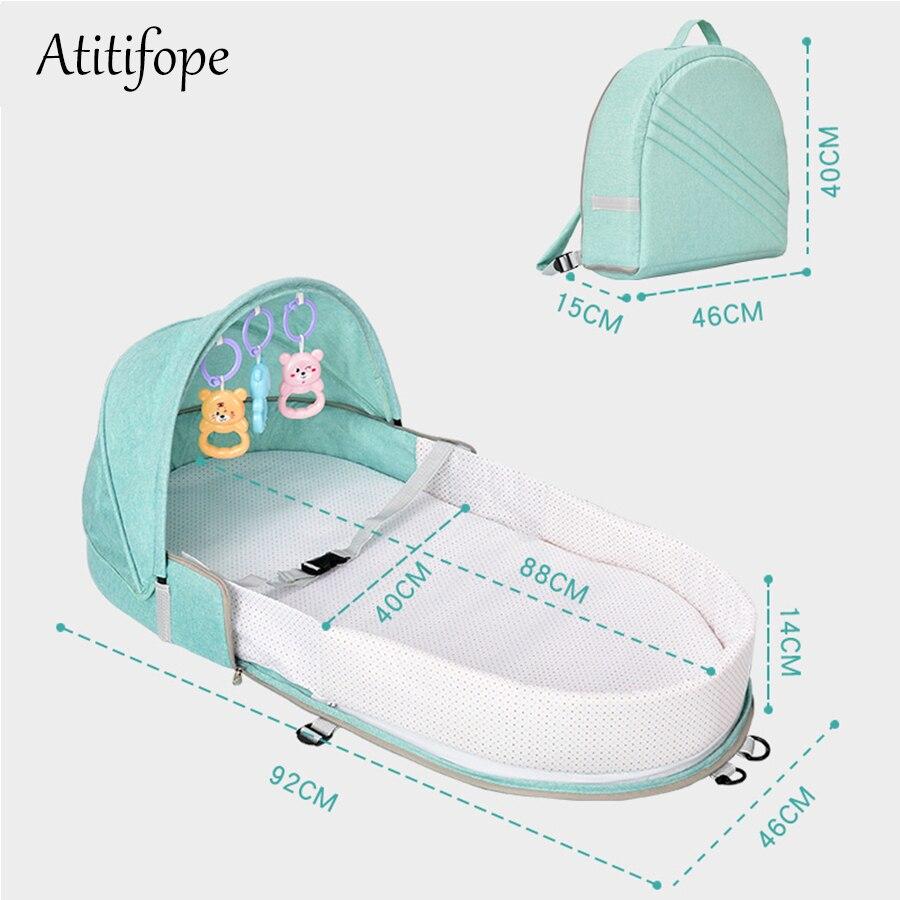 Lit bébé Portable multi-fonction berceau mode momie sac voyage bébé cirb avec parasol et couverture de moustique - 4