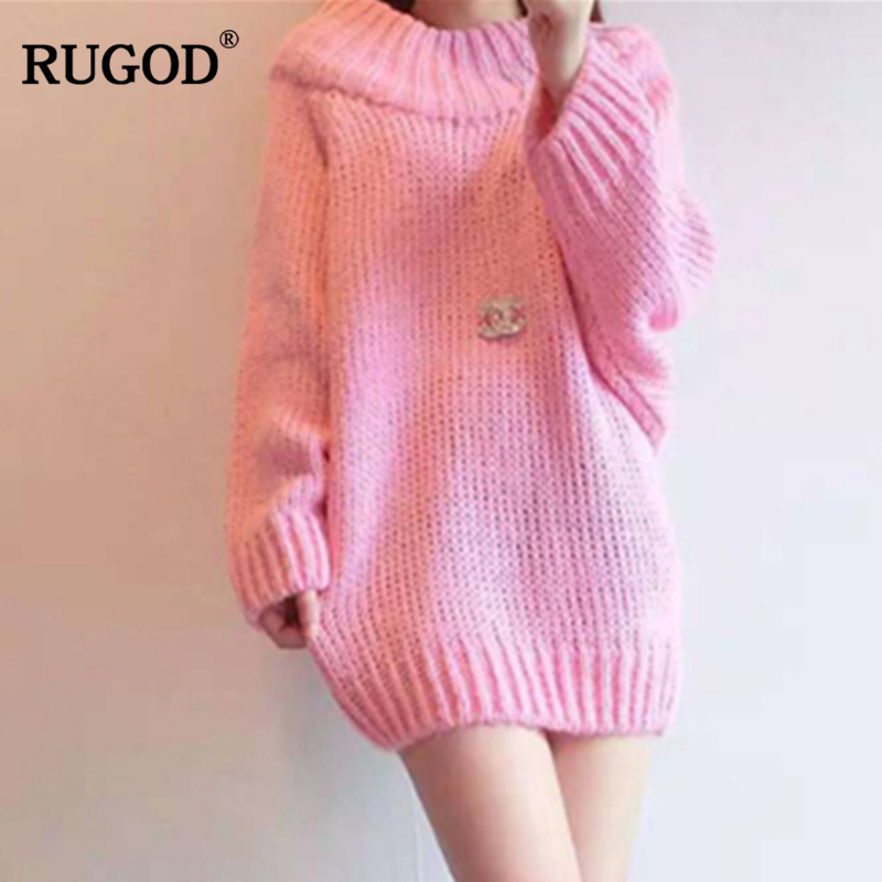 RUGOD New Long Women Sweater Off Shoulder Solid Loose Women Pullovers Plus Size Knitted Casual Women Tops Warm Winter Clothes