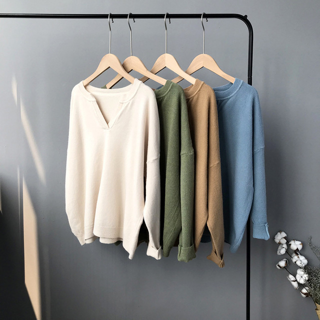 Mooirue Autumn Knitted Pullover Chic Solid V Neck Knitting Femme Harajuku Loose Women Khaki Blue White Sweater Pullover Jumper