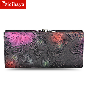 Image 3 - DICIHAYA New Arrive Ladies Wallets Leather Women Long Purse Flower Embossing Female Hasp Wallet Money Cards Purse Phone Bag
