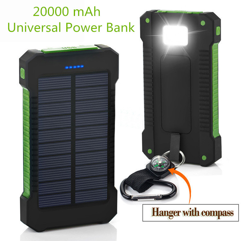 2018 New Portable Waterproof Solar Power Bank 20000mah Dual-USB Solar Battery powerbank for all Phone Universal Charger