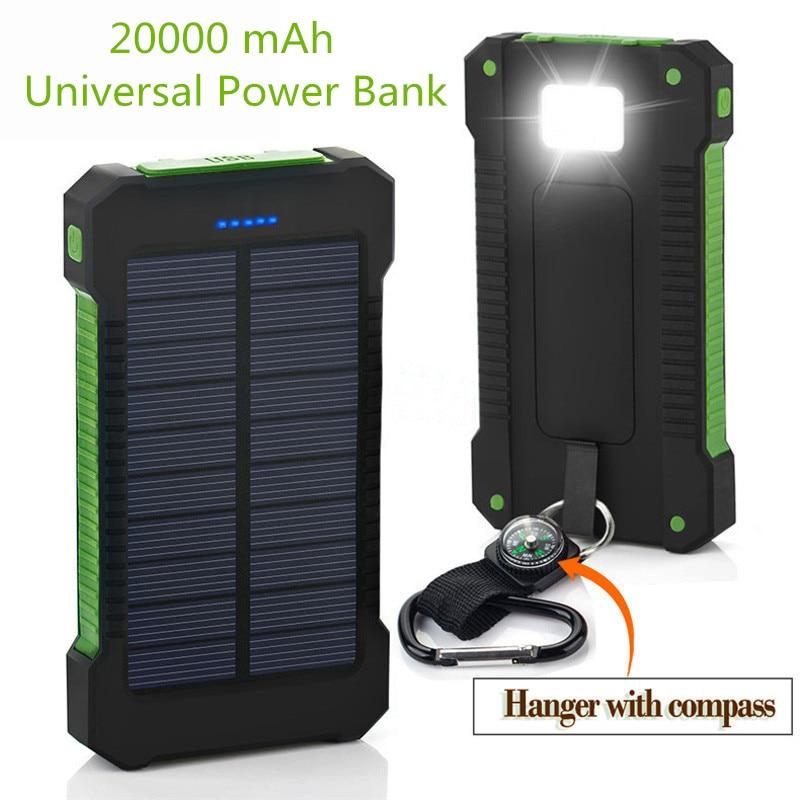 2018 Nuovo Portatile Impermeabile Solar Power Bank 20000 mah Dual-USB Solar powerbank Batteria per tutti i Telefoni Universale Batterie