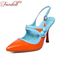 FACNDINLL Women Shoes Genuine Leather Platform Shoes Woman Pumps Fashion Sexy High Heels Pointed Toe Wedding