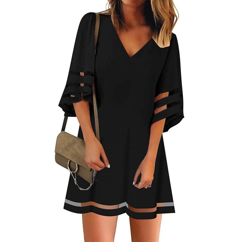 2019 Women Beach Dress Short Tunic Shirts Dress Solid V Neck Cover Up Beachwear Suit Summer Sleeve Loose Top Shirt Dress Q60