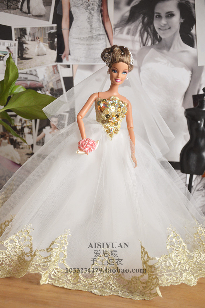 Autonomous design handmade Gifts For Girls Doll Accessories Evening Suit white Wedding D ...