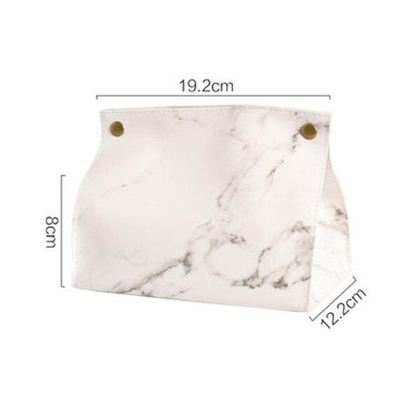 Шикарный чехол для салфеток, контейнер из искусственной кожи с мраморным узором, для дома, автомобиля, полотенца, салфетки, бумаги, сумка, держатель, чехол, мешочек, украшение стола - Цвет: white