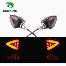 KUNFINE 4PCS Universal Motorcycle LED Turn Signal Indicators light Blinkers Flexible Bendable Amber Light Brake Light