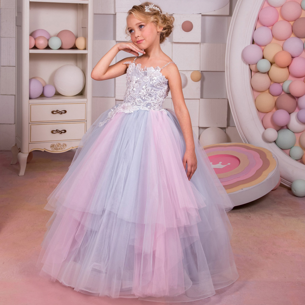 Gown For Flower Girl Wedding: New 2018 Children Clothing Sling Rainbow Floral Fluffy
