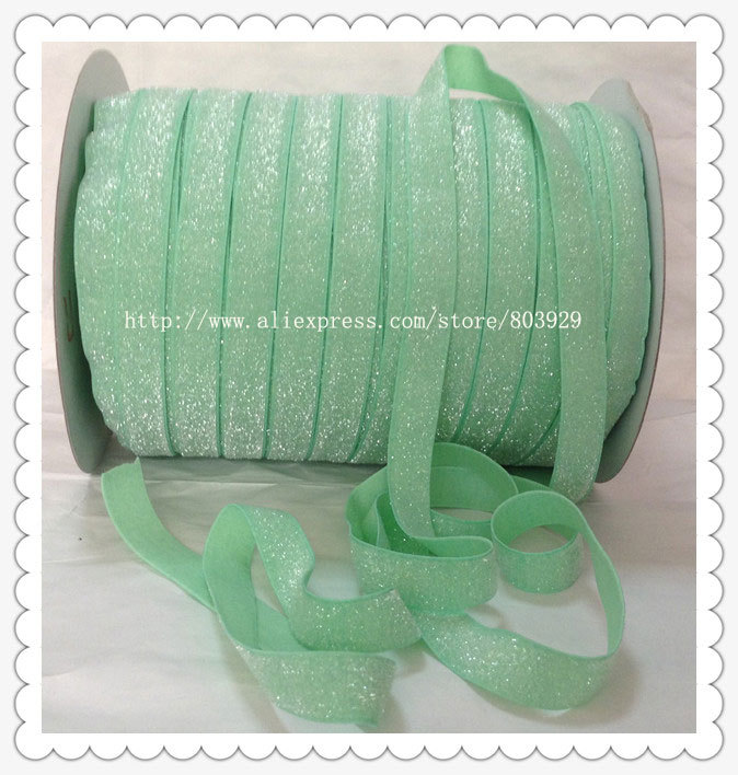 50yards lot Non stretch 1 5 Frosted Mint Glitter Ribbon